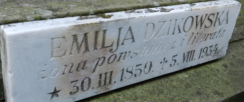 Cmentarz Łyczakowski pochowane osoby: Emilja Dzikowska pole numer 14.