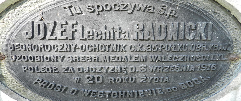 Cmentarz Łyczakowski pochowane osoby: Józef herbu Lechita Radnicki pole numer 5.