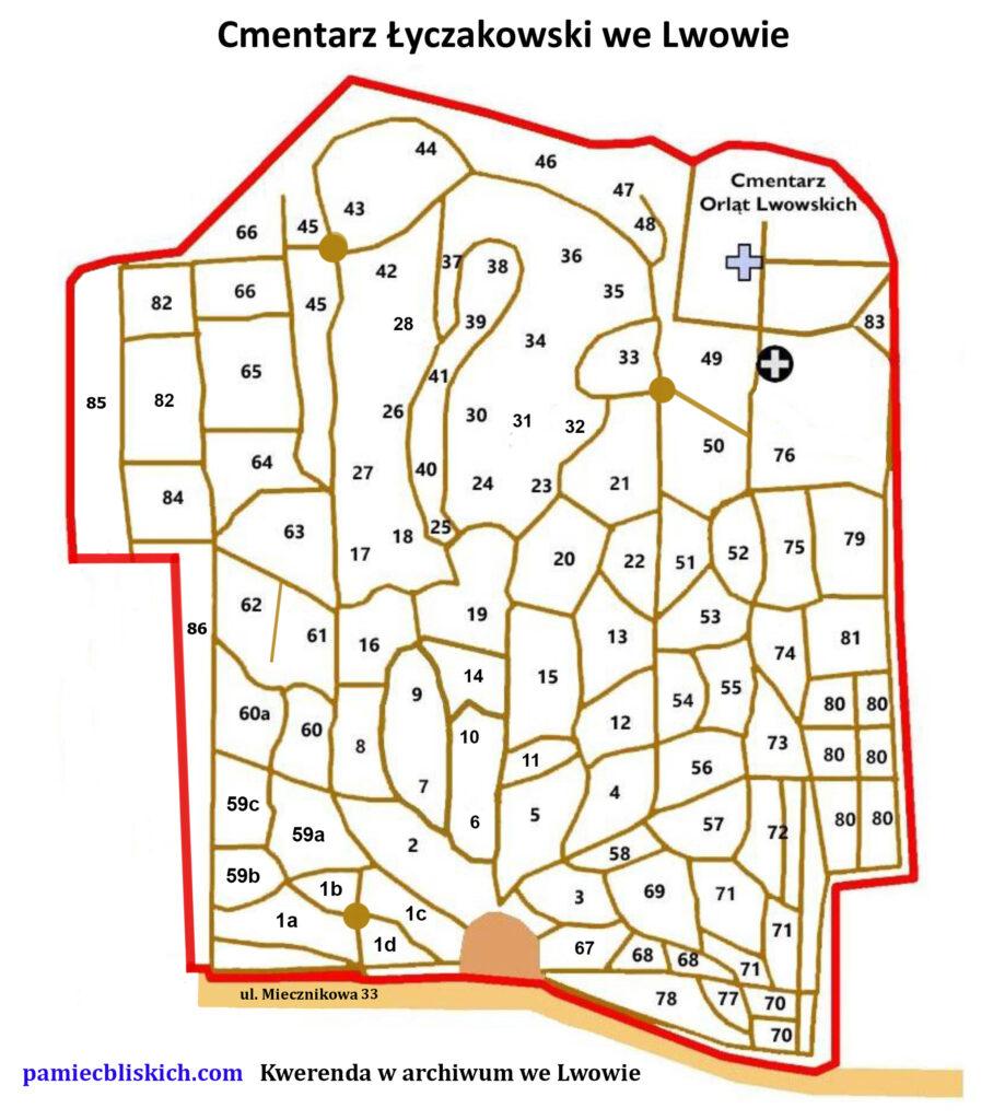 Cmentarz Łyczakowski mapa