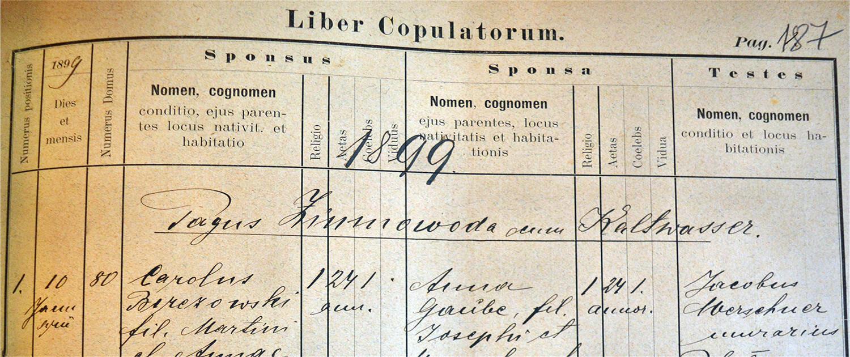 Księga metrykalna parafia rzymskokatolickiego Zimna Woda 1899 r.