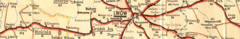 Mapa poczt i telegrafów Lwów 1936 r.