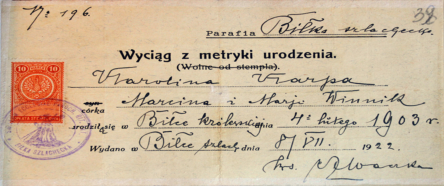 Extract from the birth certificate of Biłka Szlachecka (Білка Шляхецька) Roman Catholic parish 1922